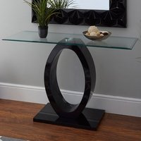 Product photograph showing Amelia Glass Console Table With Black High Gloss Wooden Base