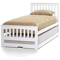 Amelia Hevea Wooden Single Bed And Guest Bed In Opal White