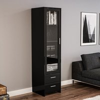 Product photograph showing Amerax Glass Display Cabinet In Black High Gloss With 1 Door