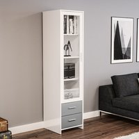 image-Amerax Glass Display Cabinet In White And Grey With 1 Door