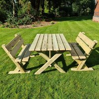 Product photograph showing Amersham Wooden 4 Seater Dining Set With Benches
