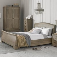 Ametis Wooden Sleigh Super King Size Bed In Grey Washed Oak