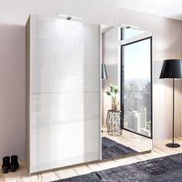 Product photograph showing Amila Mirrored Sliding Wardrobe In Oak Effect White Gloss Fronts