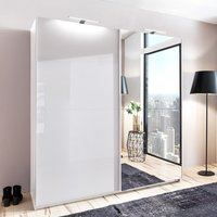 Product photograph showing Amila Mirrored Sliding Wardrobe In White With High Gloss Fronts