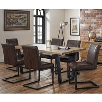 Amilia Wooden Dining Table In Solid Oak With 6 Brown Chairs
