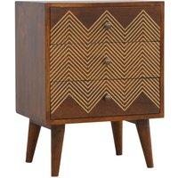 Amish Chevron Pattern Bedside Cabinet In Chestnut 3 Drawer