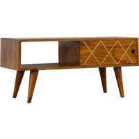 Product photograph showing Amish Wooden Brass Inlay Tv Stand In Chestnut With Open Slot