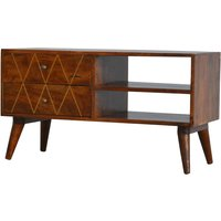 Product photograph showing Amish Wooden Brass Inlay Tv Stand In Chestnut