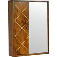 Product photograph showing Amish Wooden Brass Inlay Wall Mirrored Cabinet In Chestnut