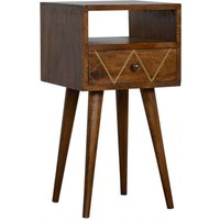 Product photograph showing Amish Wooden Petite Brass Inlay Bedside Cabinet In Chestnut
