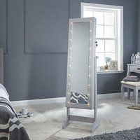 Product photograph showing Amore Led Dressing Mirror In Grey With Jewellery Cabinet
