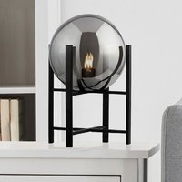 Product photograph showing Amsterdam Table Lamp In Black With 4 Leg Base And Smoked Glass