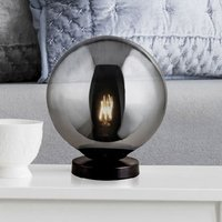 Product photograph showing Amsterdam Table Lamp In Matt Black With Smoked Glass