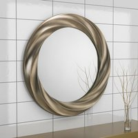 Product photograph showing Andante Round Silver Wall Bedroom Mirror