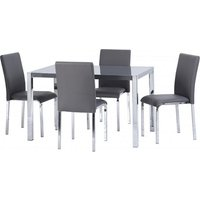 Product photograph showing Andi Wooden Dining Table In Grey Gloss With Four Dining Chairs