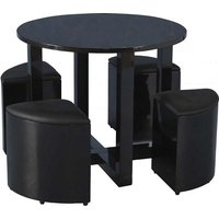 Product photograph showing Andi Stowaway Dining Table In Black Gloss With Black Stools
