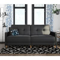 Andora Leather Sprung Sofa Bed In Black With Wooden Legs