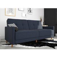 Andora Leather Sprung Sofa Bed In Blue Linen With Wooden Legs