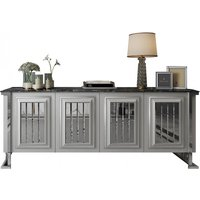 Angel Mirrored Wooden Marble Effect Top Sideboard In White