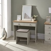 image-Angus Dressing Table And Stool With Table Mirror In Soft Grey