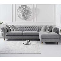 Product photograph showing Nesta Linen Fabric Right Facing Chaise Sofa Bed In Grey