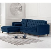 Product photograph showing Anneliese Velvet Left Facing Corner Chaise Sofa In Blue