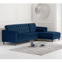 Product photograph showing Anneliese Velvet Right Facing Corner Chaise Sofa In Blue