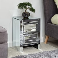 Product photograph showing Antigais Mirrored Louvered Bedside Cabinet With 2 Drawers