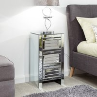 Product photograph showing Antigais Mirrored Louvered Bedside Cabinet With 3 Drawers