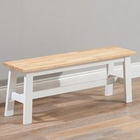 Ankila Wooden Large Dining Bench In Oak And White