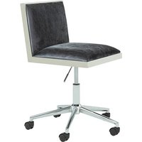 Product photograph showing Apex Office Chair In Charcoal Velvet With Stainless Steel Frame