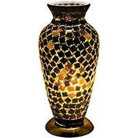 Apollo Mosaic Glass Vase Table Lamp In Black Tile