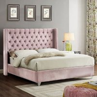 Product photograph showing Apopka Plush Velvet Upholstered Double Bed In Pink