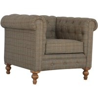Product photograph showing Aqua Fabric Chesterfield Armchair In Petite Multi Tweed