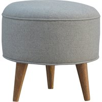 Product photograph showing Aqua Fabric Nordic Style Footstool In Grey And Oak Ish