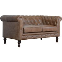 Product photograph showing Aqua Leather 2 Seater Chesterfield Sofa In Brown