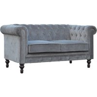 Product photograph showing Aqua Velvet 2 Seater Chesterfield Sofa In Grey