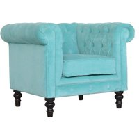 Product photograph showing Aqua Velvet Chesterfield Armchair In Turquoise