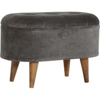 Product photograph showing Aqua Velvet Curved Storage Footstool In Grey Tweed And Oak Ish