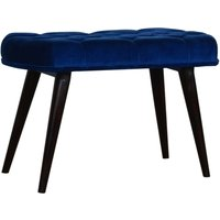 Product photograph showing Aqua Velvet Deep Button Hallway Bench In Royal Blue And Walnut