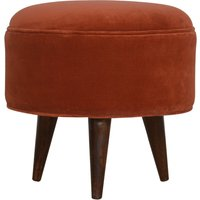 Product photograph showing Aqua Velvet Nordic Style Footstool In Brick Red And Walnut