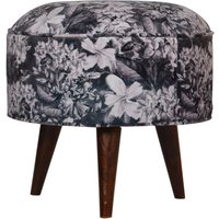 Product photograph showing Aqua Velvet Nordic Style Footstool In Floral Printed And Walnut