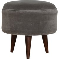 Product photograph showing Aqua Velvet Nordic Style Footstool In Grey And Walnut