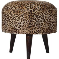 Product photograph showing Aqua Velvet Nordic Style Footstool In Leopard Printed And Walnut