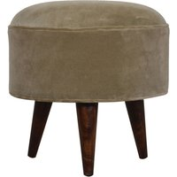 Product photograph showing Aqua Velvet Nordic Style Footstool In Mocha And Walnut