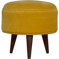Product photograph showing Aqua Velvet Nordic Style Footstool In Mustard And Walnut