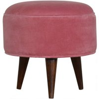 Product photograph showing Aqua Velvet Nordic Style Footstool In Pink And Walnut