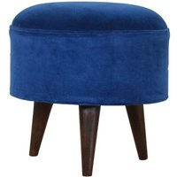 Product photograph showing Aqua Velvet Nordic Style Footstool In Royal Blue And Walnut