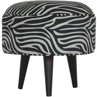 Product photograph showing Aqua Velvet Nordic Style Footstool In Zebra Printed And Walnut