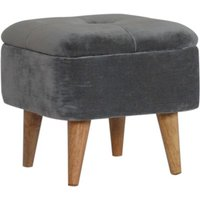 Product photograph showing Aqua Velvet Storage Footstool In Grey And Oak Ish